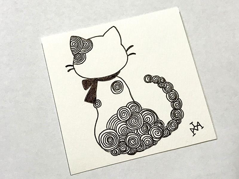 猫とゼンタングル(zentangle)