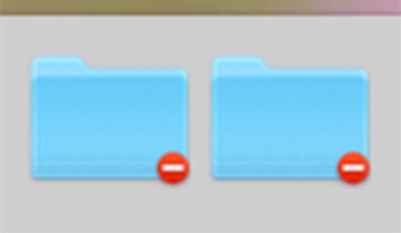 Macのフォルダに赤丸の停止マーク