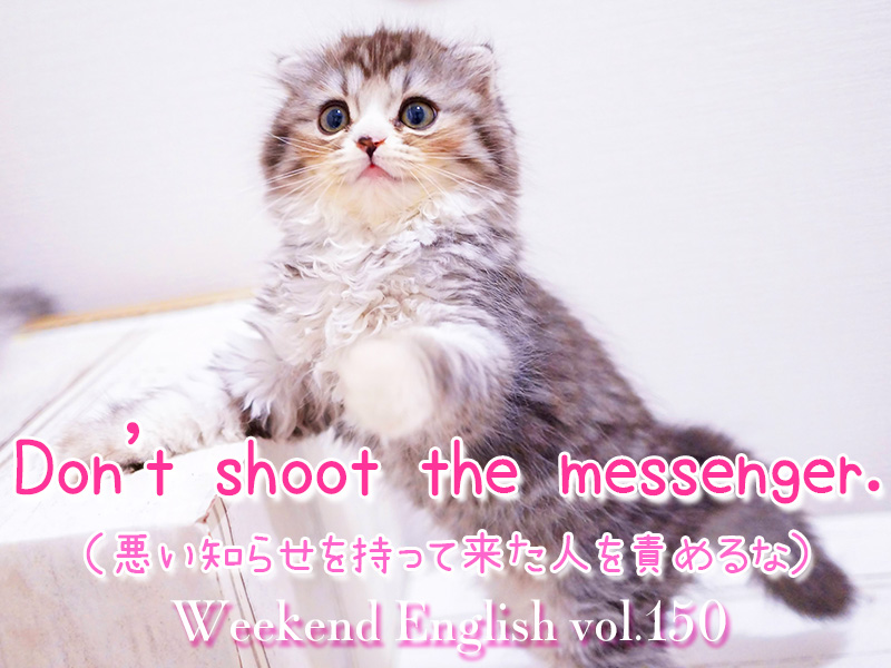 週末英語(weekend english)Don't shoot the messenger.「八つ当たりすんな」