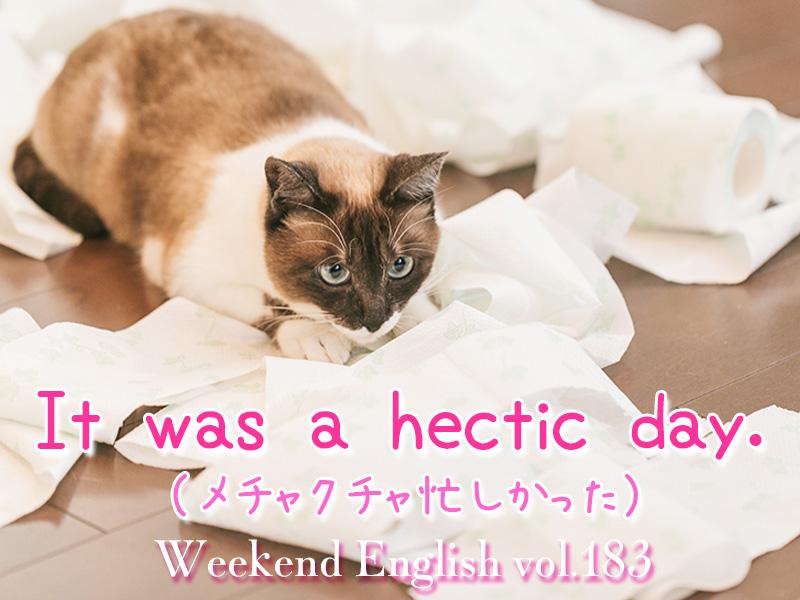 週末英語(weekend english)メチャクチャ忙しかった(It was a hectic day.)