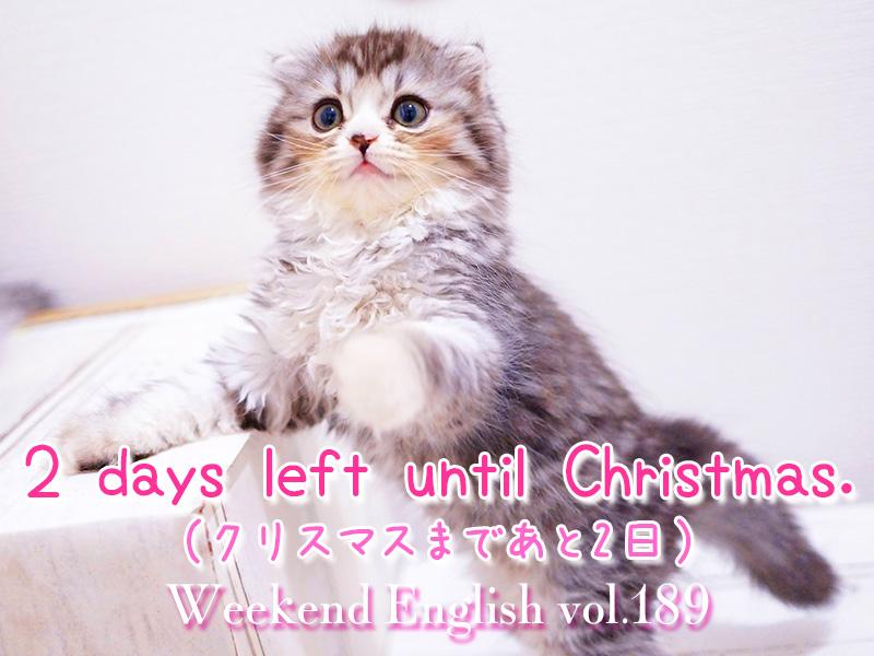 週末英語(weekend english)クリスマスまであと2日(2 days left until Christmas.)