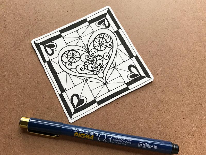 ゼンタングル(zentangle)バレンタングル(valentangle)
