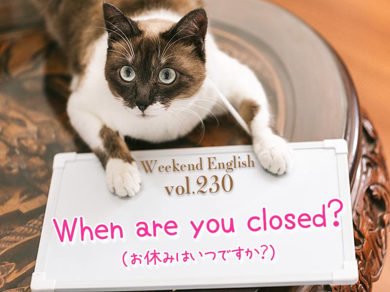 お休みはいつ?(when are you closed?)週末英語(weekend english)