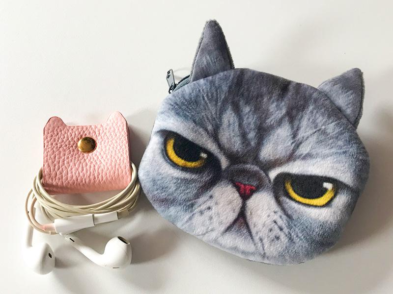 iPhone ストラップ付猫の手帳型ケースミラー付コードクリップ