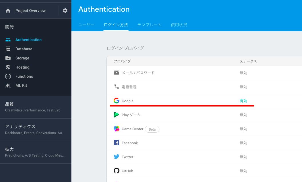 firebase認証のログインプロバイダにGoogleアカウントを設定