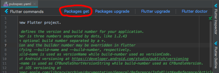 Android Studio で Packages get をクリック