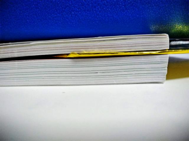 紙をはさんでいるところがレッスン3「量産しやすいラインスタンプを作る」が終わったところ