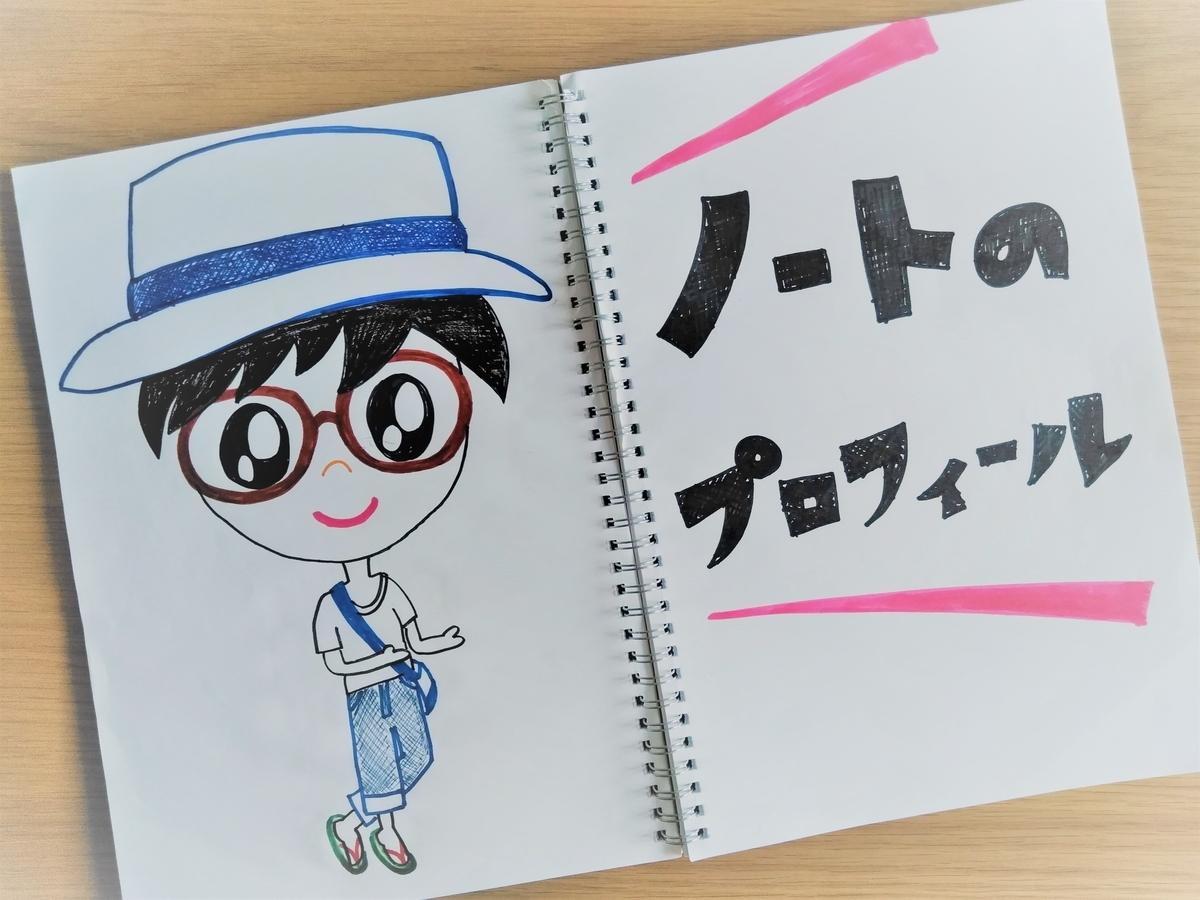 ノートに描かれた運営者ノートの自画像と「ノートのプロフィール」の文字