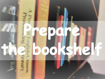 ぎっしりの本棚。英語で「本棚を整える。」