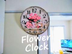 ピンクの薔薇の模様の掛け時計
