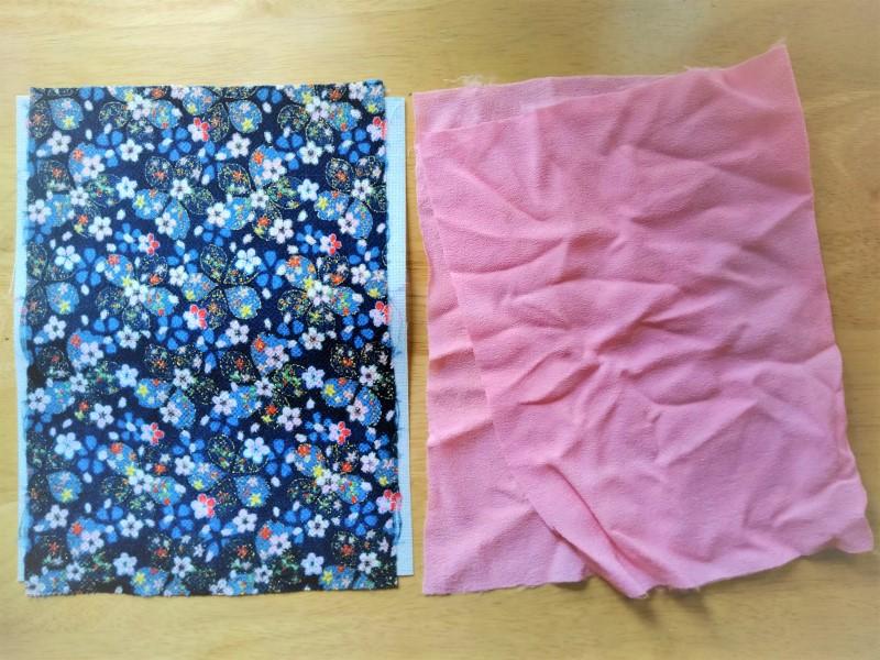 紺色の表布とピンクの裏布
