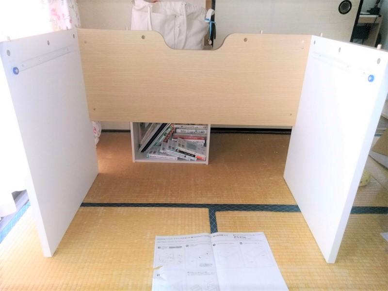 ぺスパ引出しつき木製ワークデスク 組み立て中