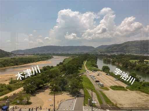 背割堤(三川合流点)宇治川と木津川