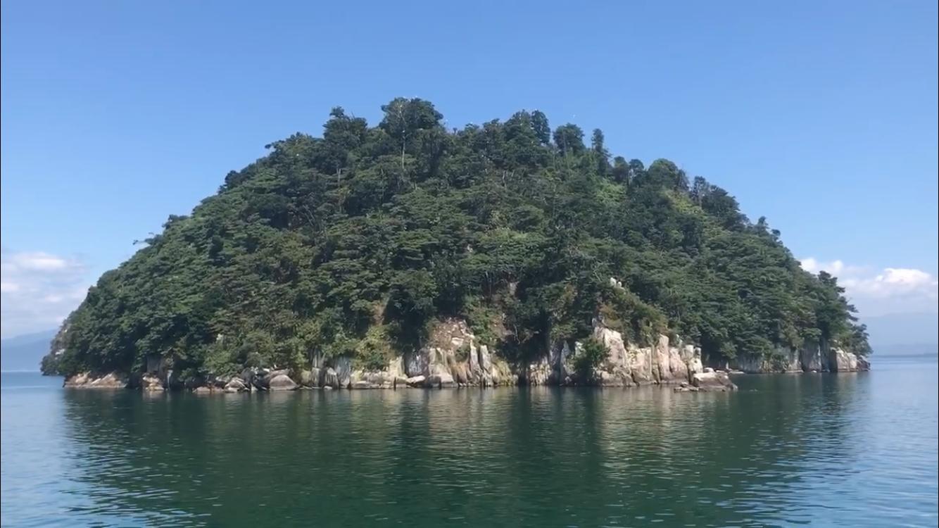 竹生島全景 観光船から撮影