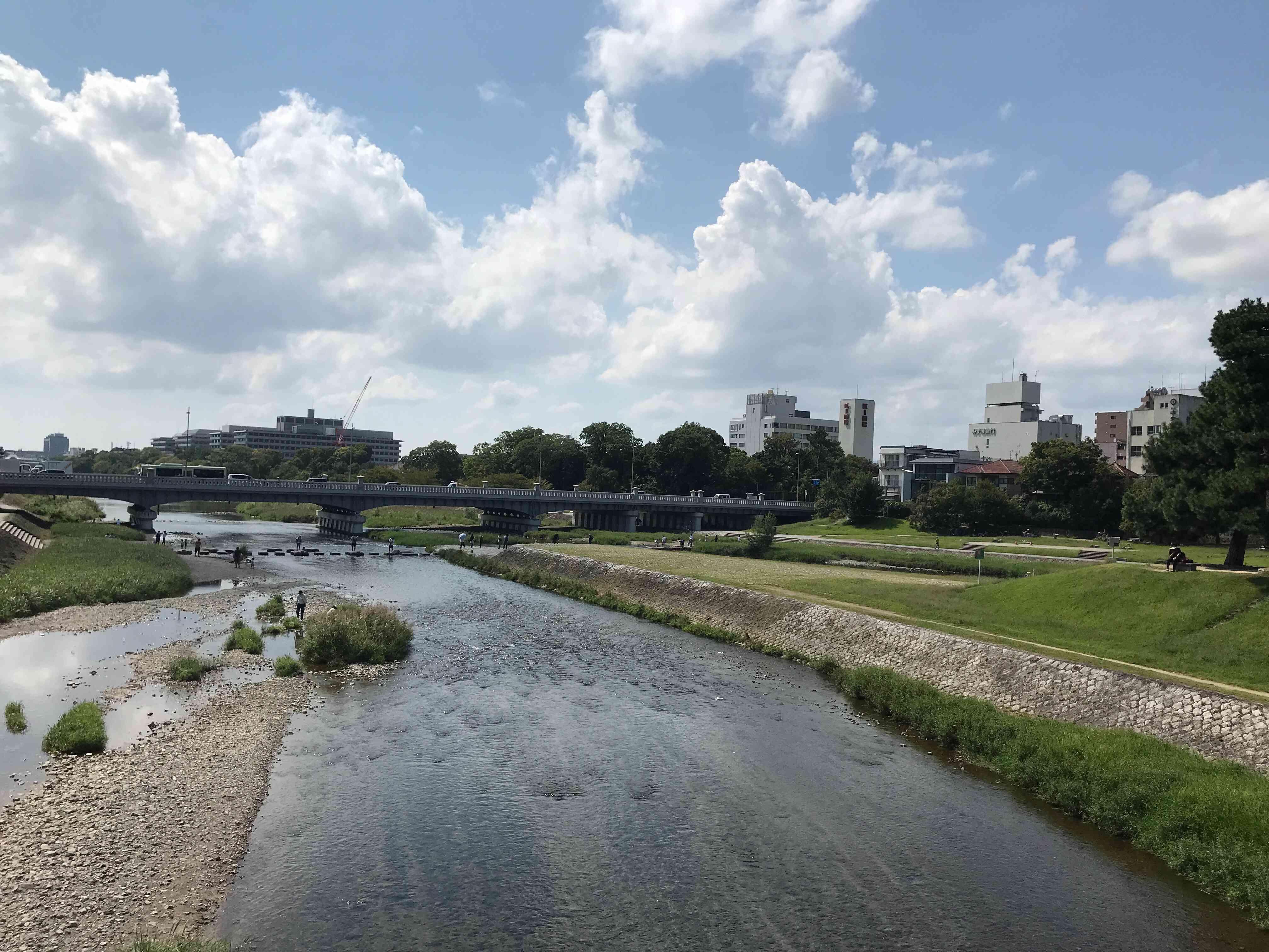 出町橋から賀茂川、鴨川公園、賀茂大橋