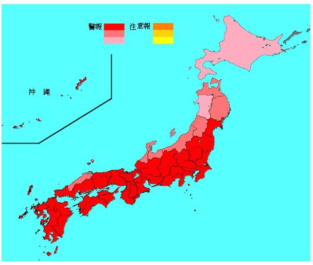 インフルエンザ流行レベルマップ(国立感染症研究所 感染症情報センター)