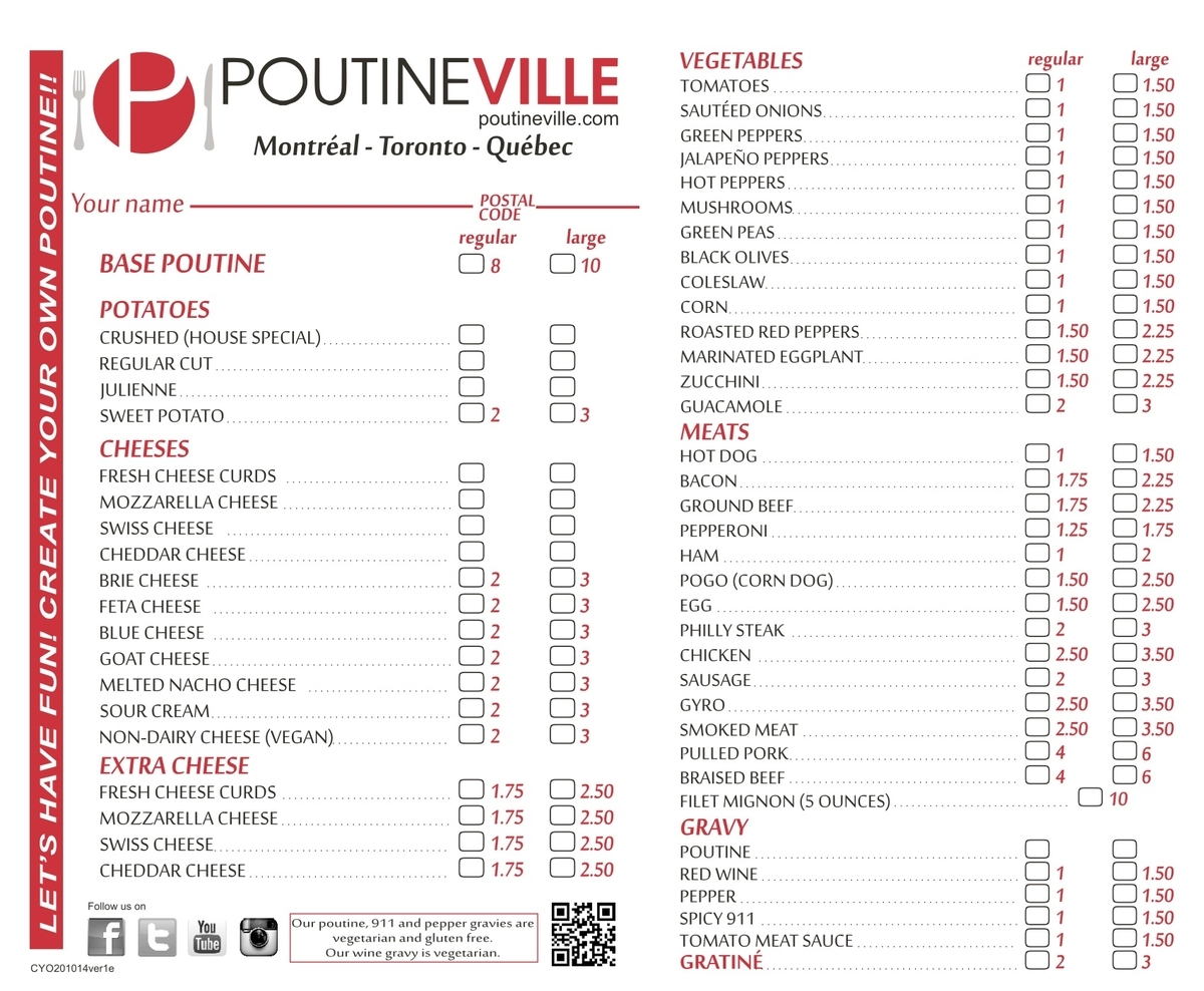Poutineville, Create Your Own Poutine