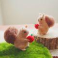 [羊毛フェルトうさぎ][羊毛フェルトアルパカ][羊毛フェルトインコ][羊毛フェルト文鳥]羊毛フェルトリス