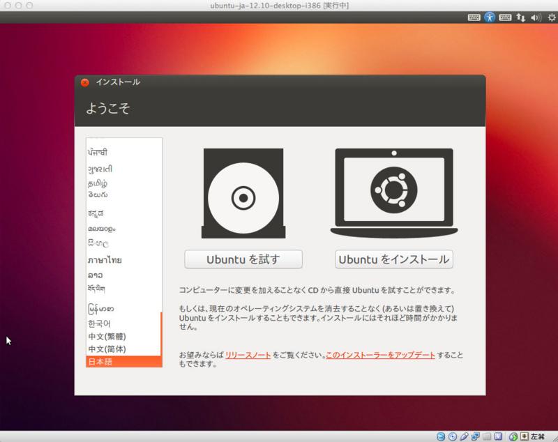 Ubuntuインストール1