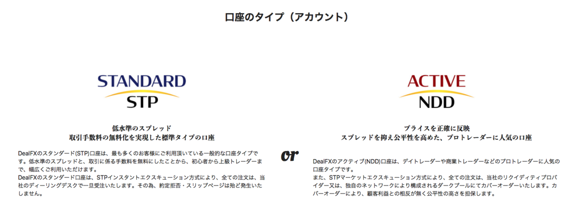 DealFXの口座タイプ
