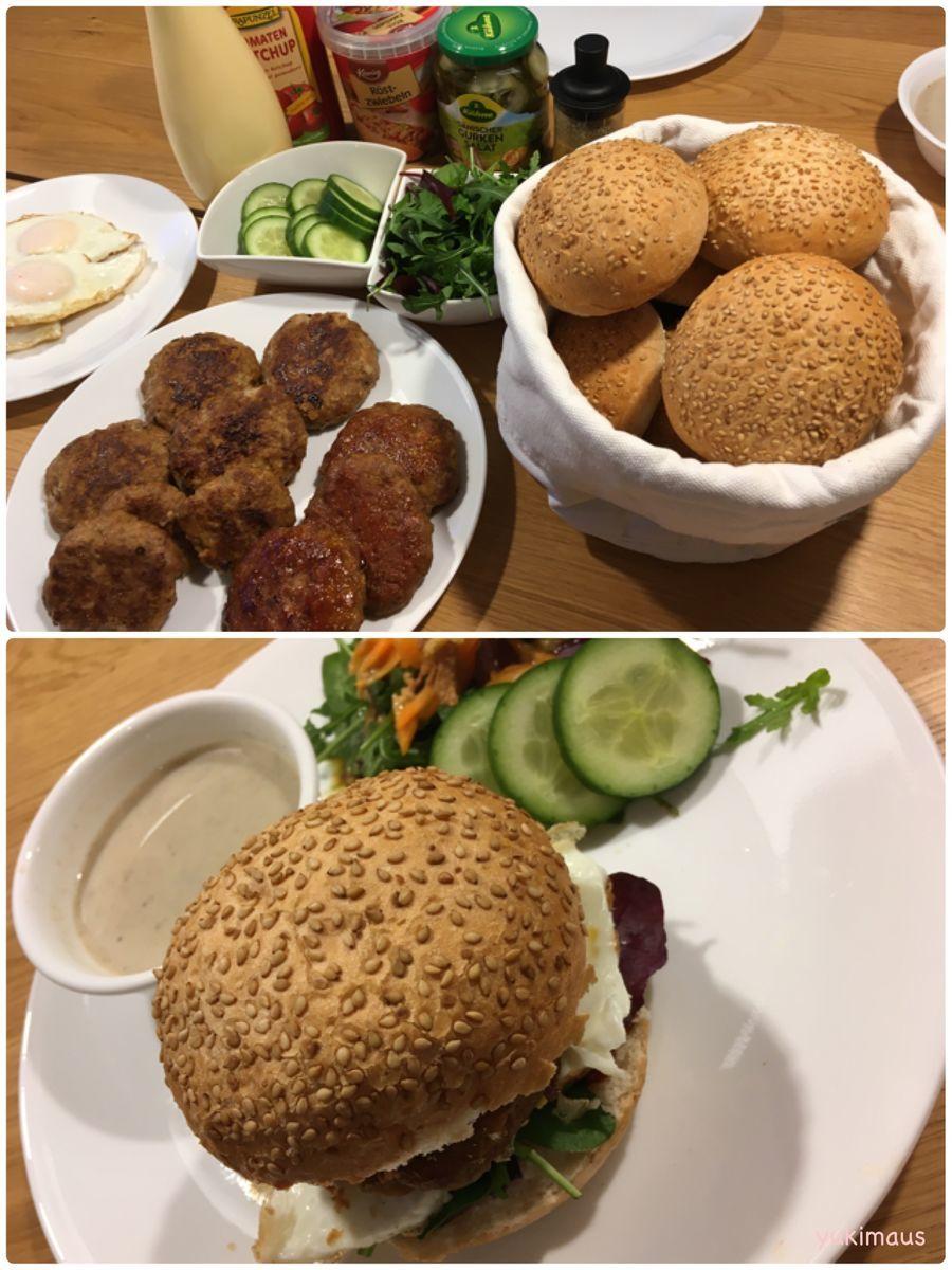 ドイツと日本の家族のランチふわふわハンバーグでハンバーガー