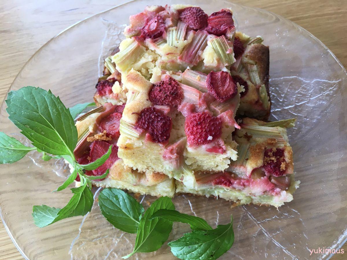 白砂糖不使用レシピ ルバーブといちごのケーキ