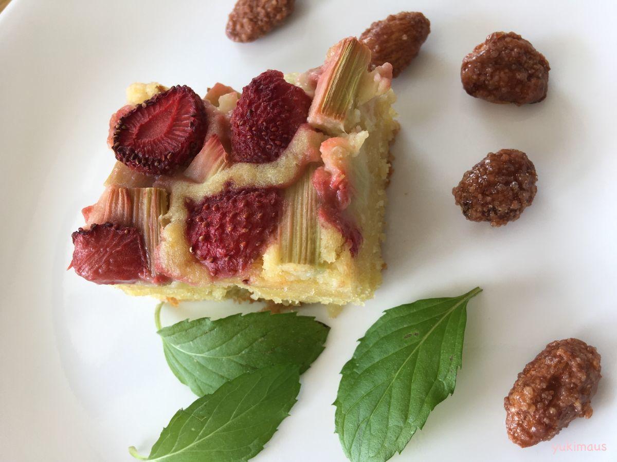 砂糖なしレシピルバーブといちごのケーキ