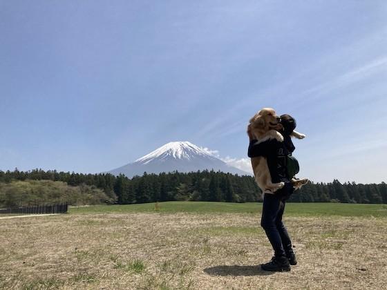 富士山をバックにゴールデンレトリバーを抱っこ