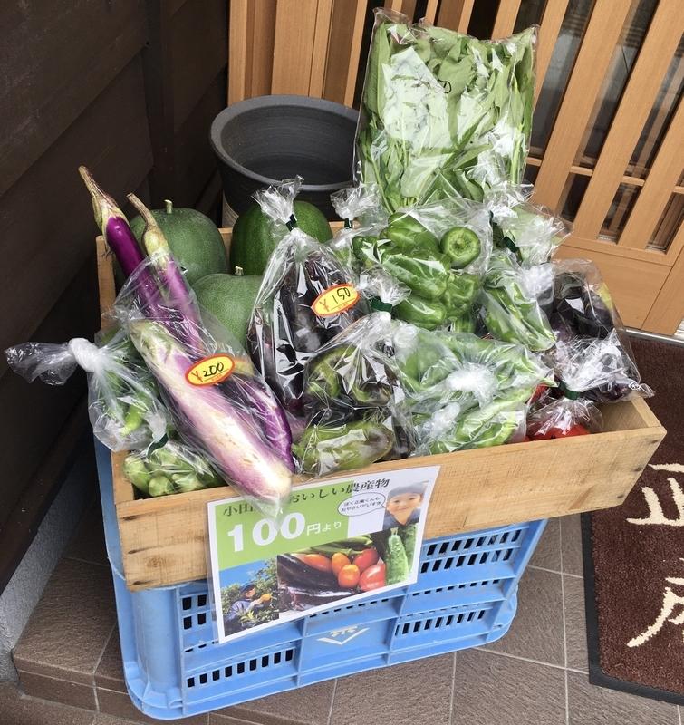 店前の小田原野菜販売