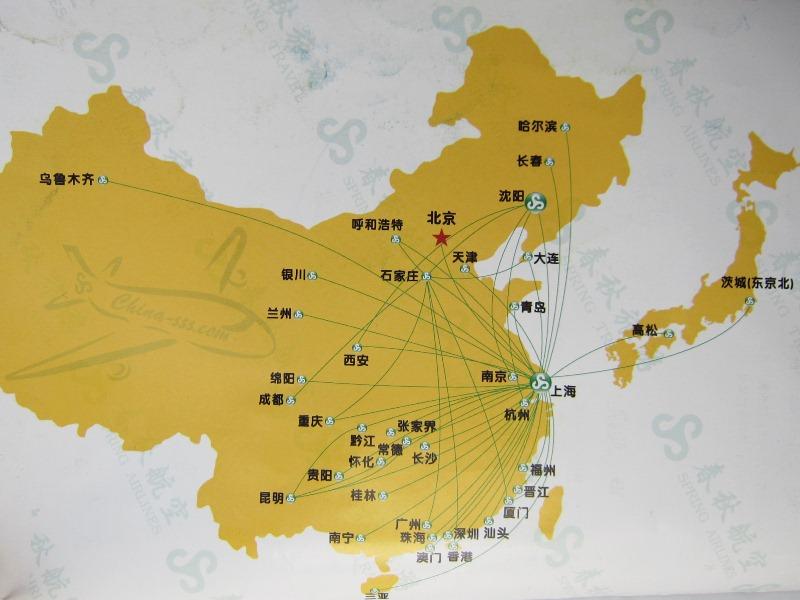 春秋航空の運航路線網(中国)