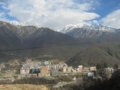 康定新市街と蛇海子山(中国四川省甘孜州康定県)