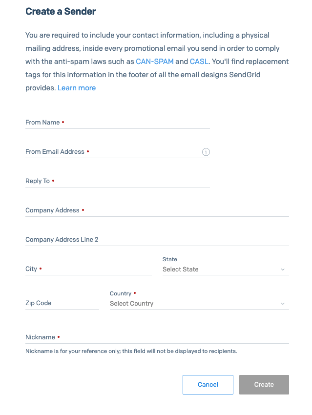 SendGrid Single Sender Verification 登録フォーム