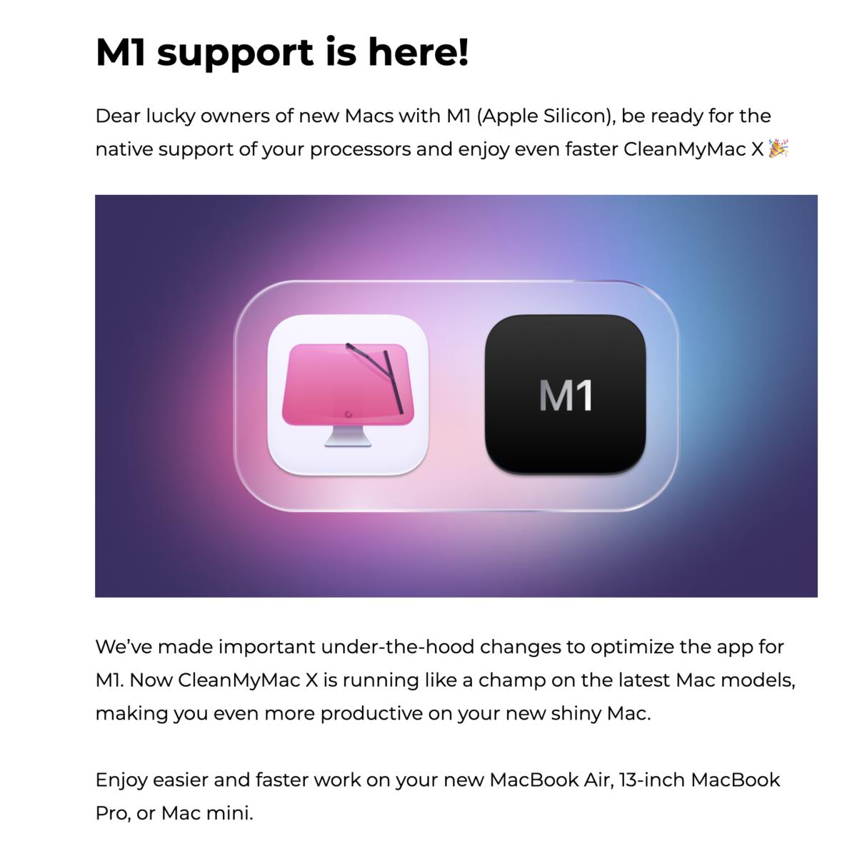 CleanMyMac Xは「M1チップ搭載」のMacに対応している