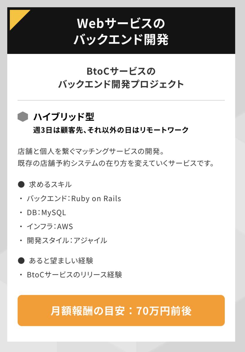 Webサービスのバックエンド開発 BtoCサービスのバックエンド開発プロジェクト ハイブリッド型(週3日は顧客先、それ以外の日はリモートワーク)