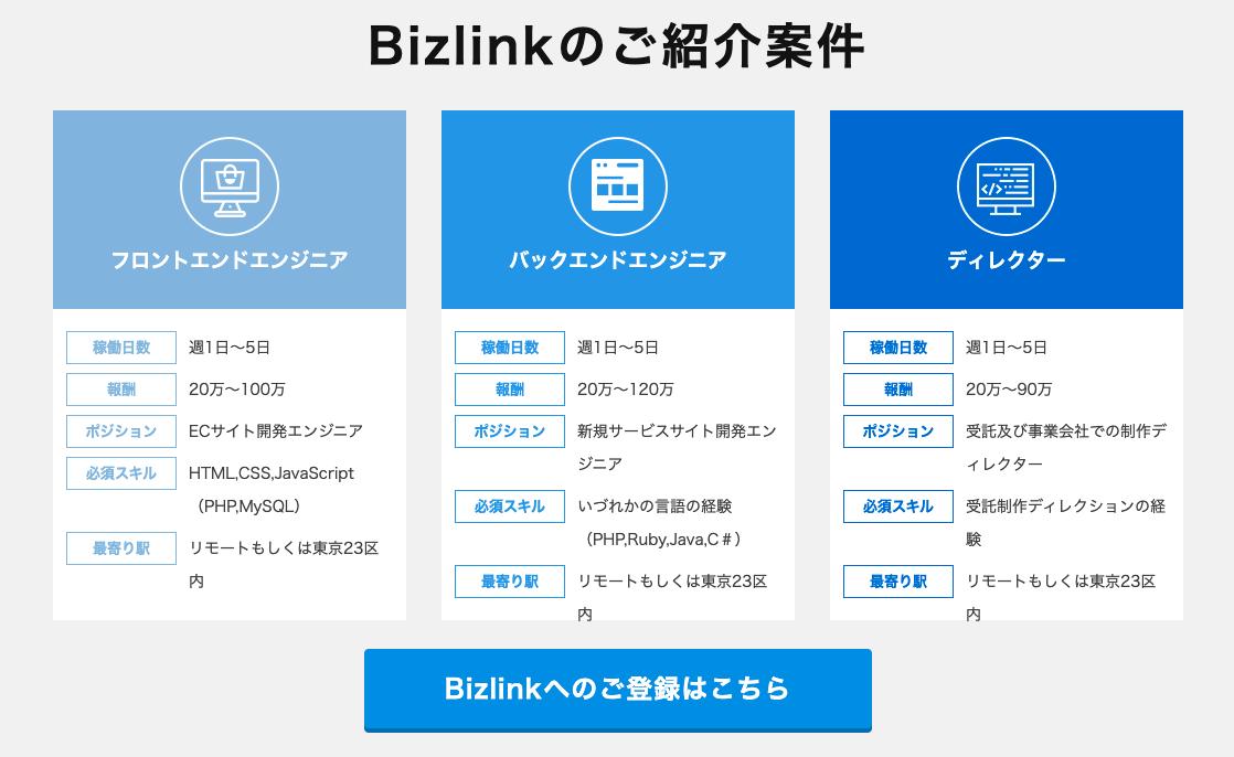 Bizlink(ビズリンク)は公式ページで実際に案件を探すことができない