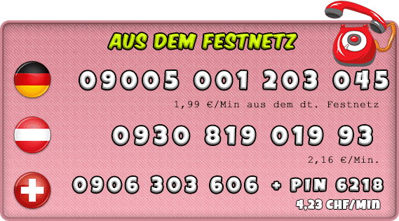Nummer von Schlampen für Deutschland, Schweiz und auch Österreich