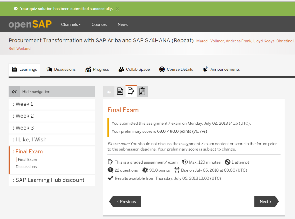 openSAP「Procurement Transformation with SAP Ariba and SAP S