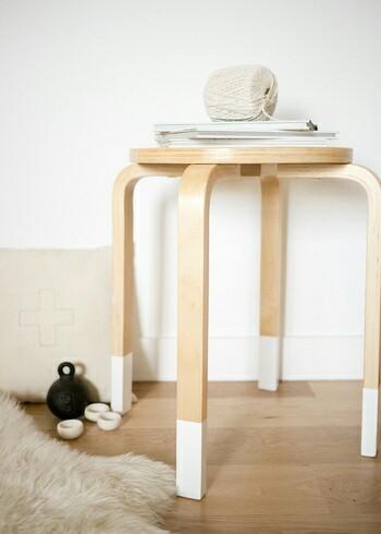 IKEAのスツールの脚をペイント