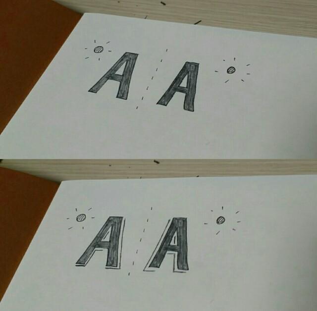 レタリングのAの書き方