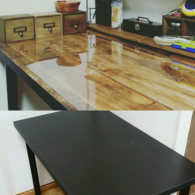 IKEAのテーブル天板壁紙リメイクのビフォーアフター