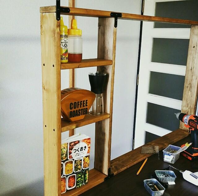 キッチンカウンター上の収納棚の作り方