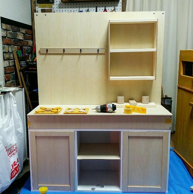 木製のままごとキッチンを手作り