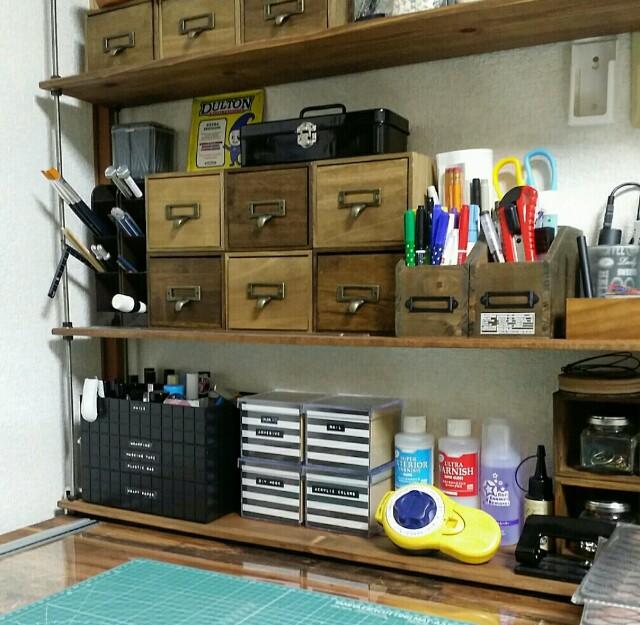 IKEAの天板をリメイクした机を100均で整理整頓する