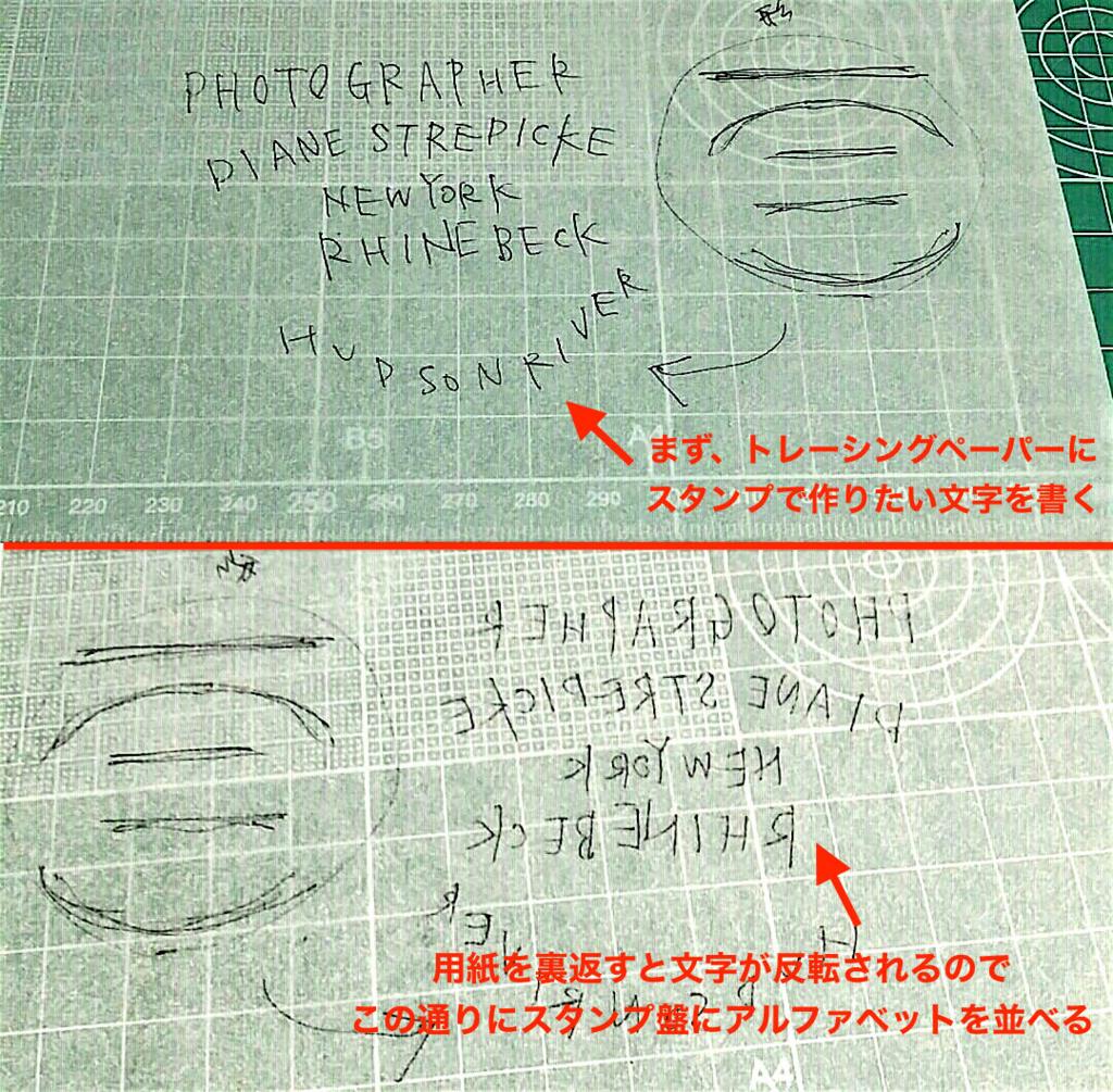 手作りスタンプで反転文字を作る方法