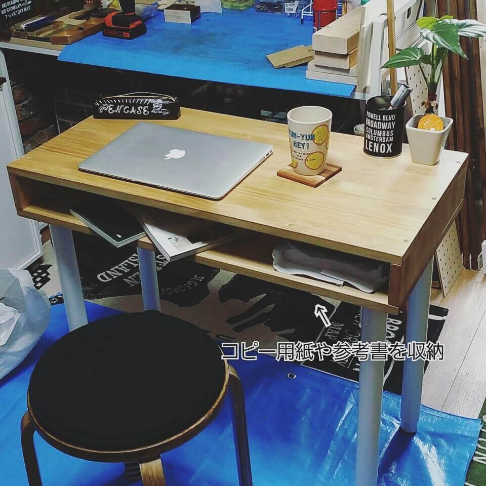 IKEAの脚と天板でDIYした収納付きのテーブル