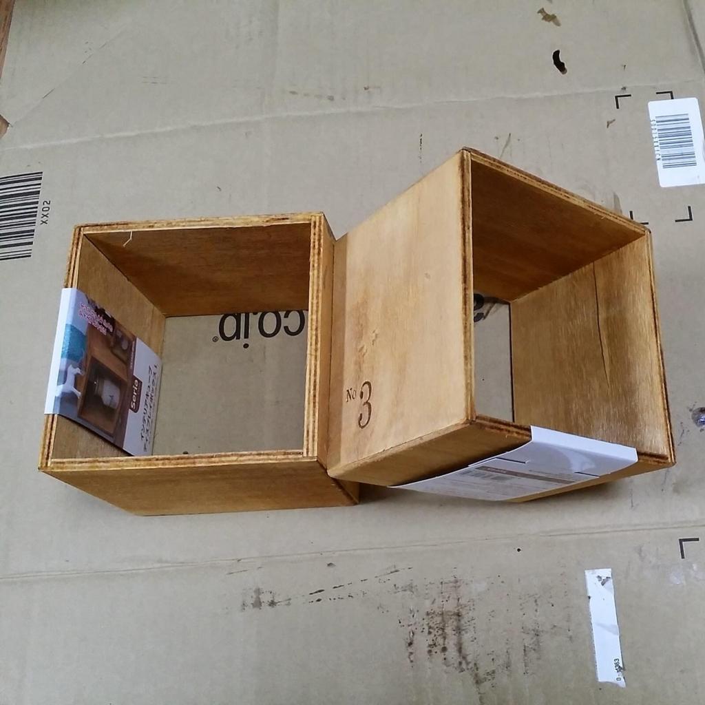 100均のセリアの木箱