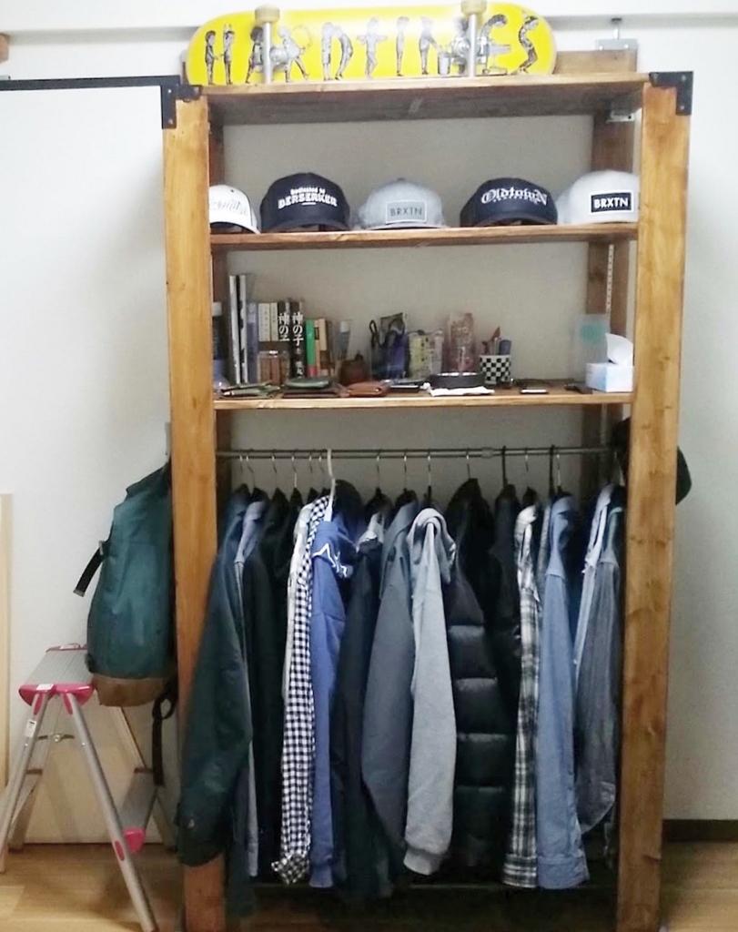 DIYした衣類収納のウッドラック