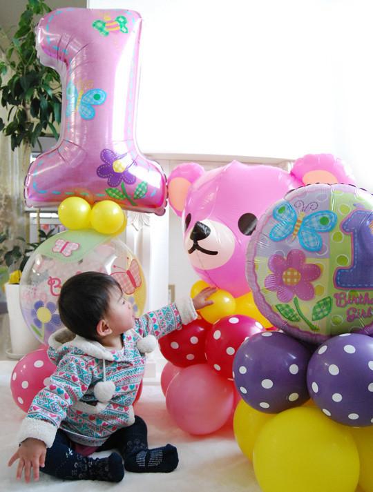 1歳のお祝いバルーンコロン3個セット女の子