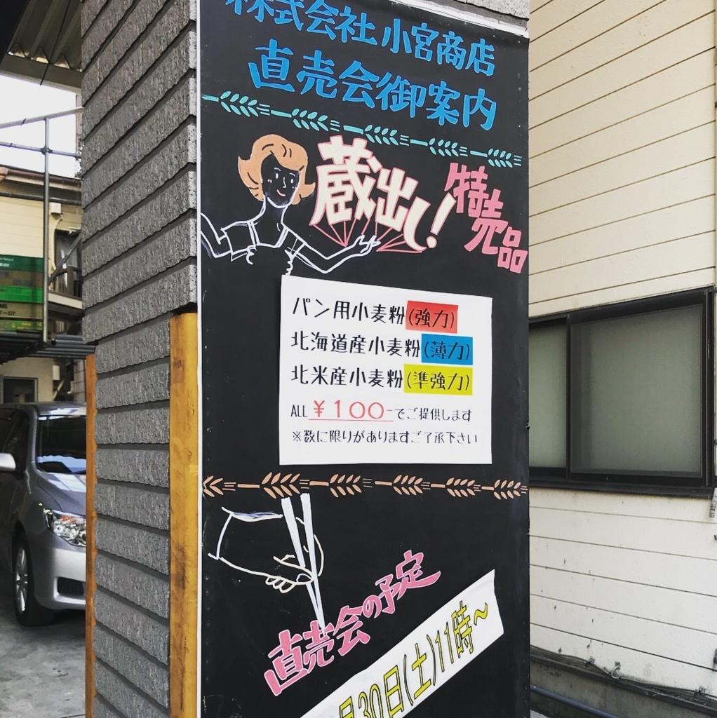 小宮商店の特売会看板