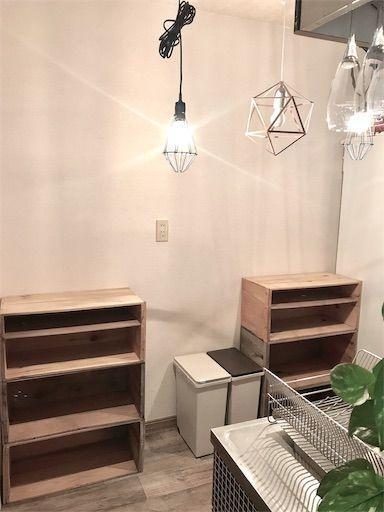 キッチンDIY リンゴ箱 食器棚